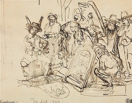 Rembrandt (Rembrandt van Rijn) (Dutch, Leiden 1606–1669 Amsterdam) Satire on Art Criticism, 1644 Pen and brown ink corrected with white.; 6 1/8 x 7 15/16 in. (15.5 x 20.1 cm) The Metropolitan Museum of Art, New York, Robert Lehman Collection, 1975 (1975.1.799) http://www.metmuseum.org/Collections/search-the-collections/459210