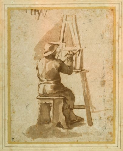 Annibale Carracci - A young painter seated at his easel (pen ink with chalks on - (MeisterDrucke-281258)